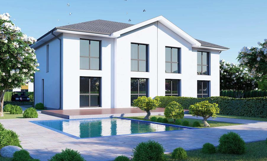 Doppelhaus weiß modern