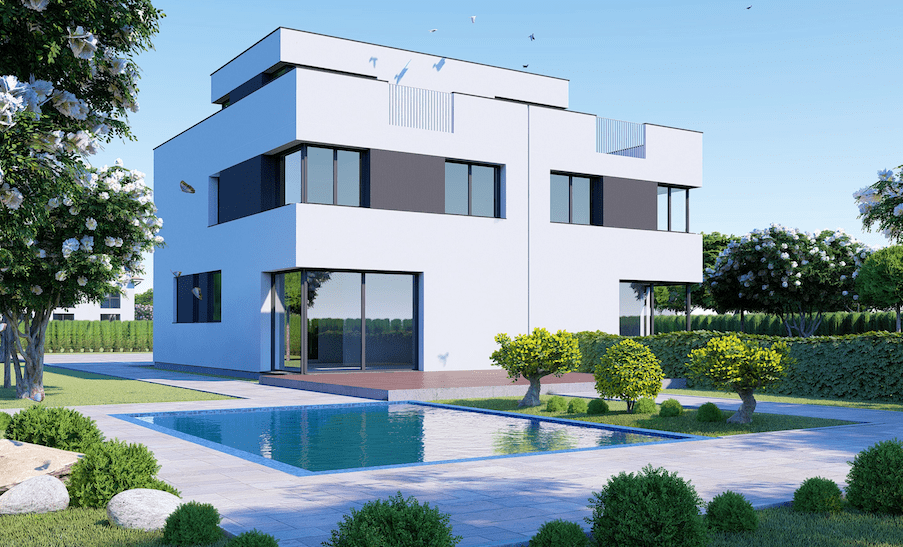 Mehrfamilienhaus weiß