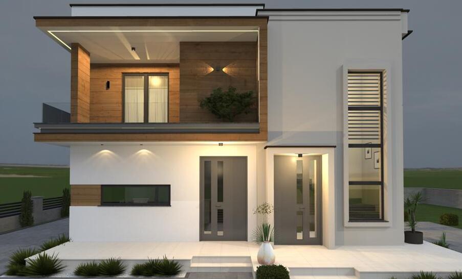 Modernes Doppelhaus Abend